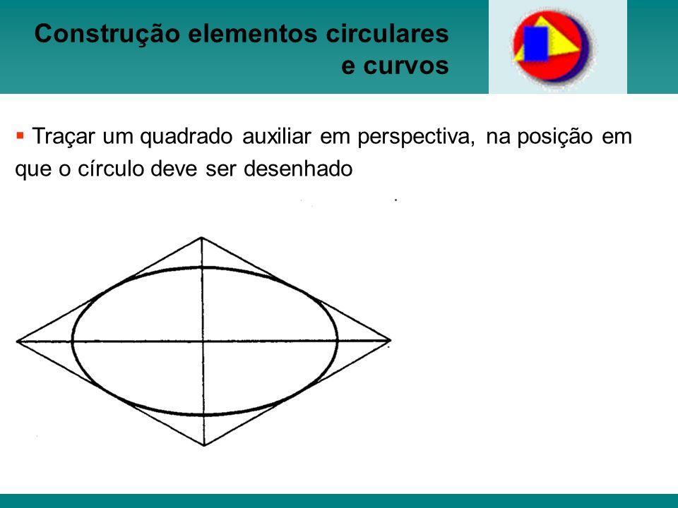 Construção elementos circulares e curvos Traçar um quadrado auxiliar em perspectiva, na posição em que o círculo deve ser desenhado