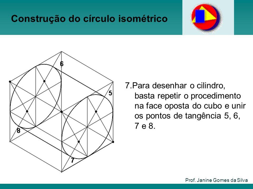 Construção do círculo isométrico Prof. Janine Gomes da Silva 7.Para desenhar o cilindro, basta repetir o procedimento na face oposta do cubo e unir os