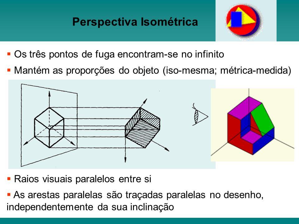 Os três pontos de fuga encontram-se no infinito Mantém as proporções do objeto (iso-mesma; métrica-medida) Raios visuais paralelos entre si As arestas