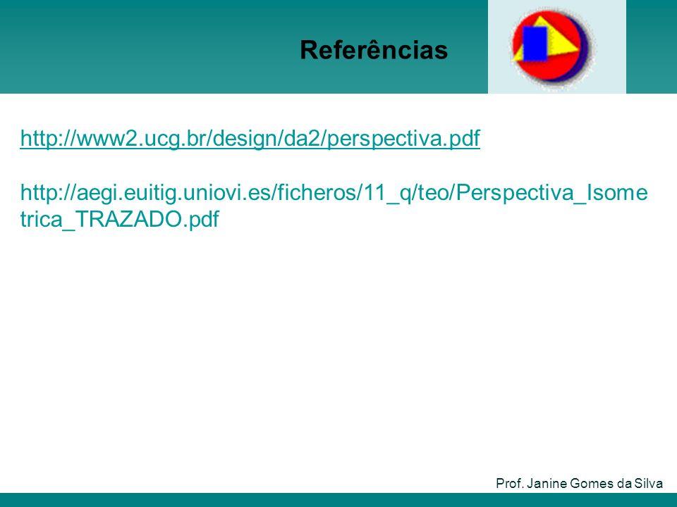 Referências Prof. Janine Gomes da Silva http://www2.ucg.br/design/da2/perspectiva.pdf http://aegi.euitig.uniovi.es/ficheros/11_q/teo/Perspectiva_Isome