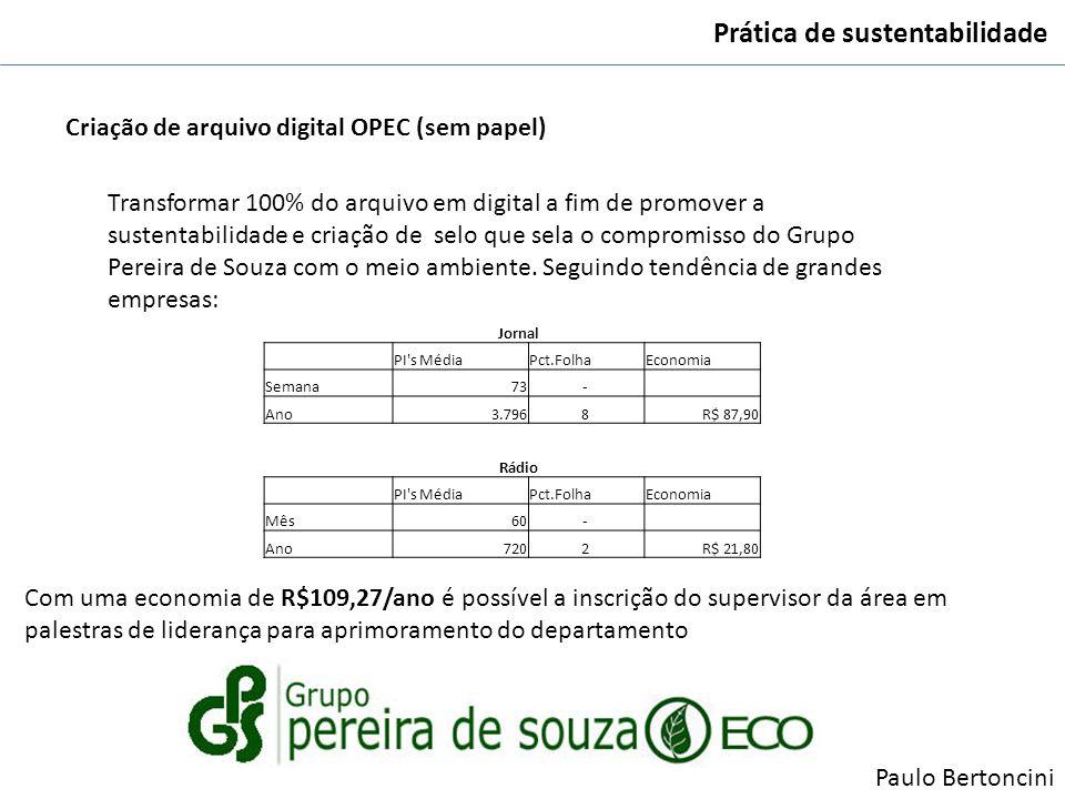 Prática de sustentabilidade Criação de arquivo digital OPEC (sem papel) Transformar 100% do arquivo em digital a fim de promover a sustentabilidade e
