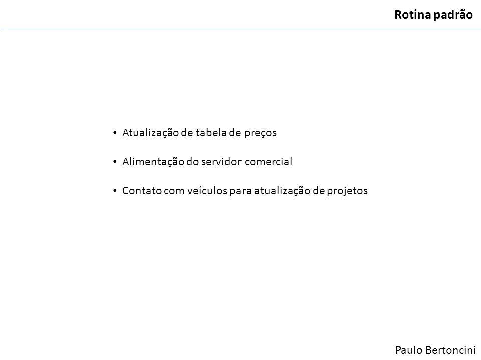 Rotina padrão Atualização de tabela de preços Alimentação do servidor comercial Contato com veículos para atualização de projetos Paulo Bertoncini