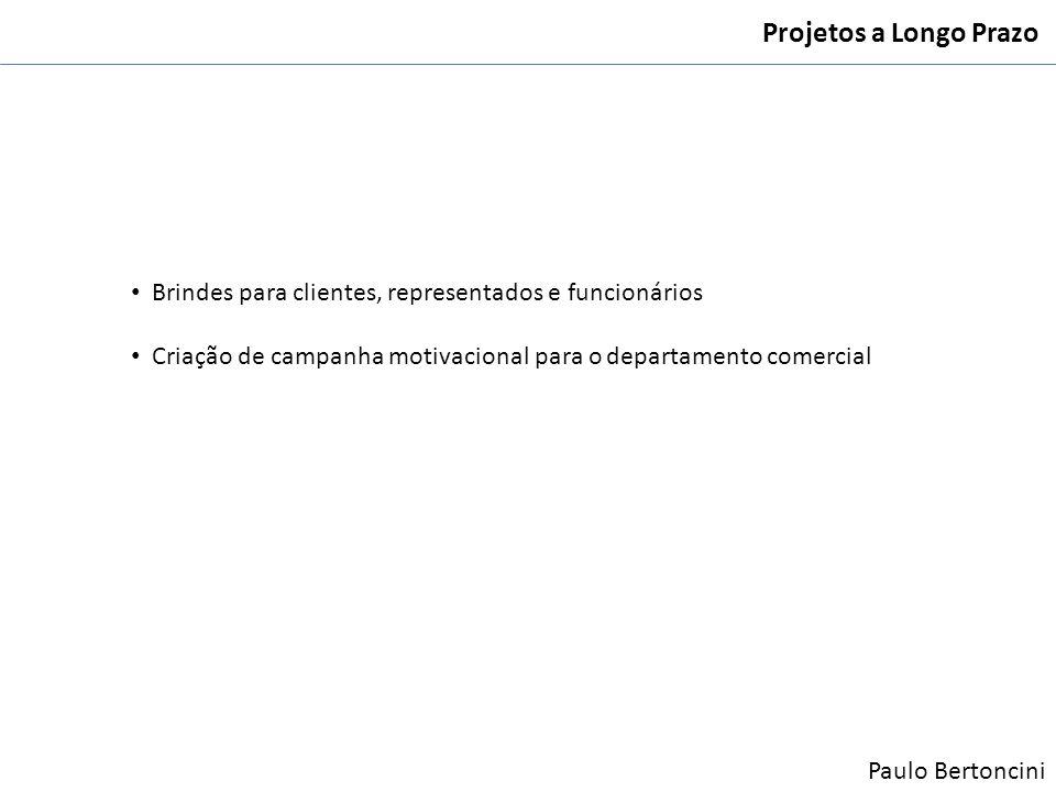 Projetos a Longo Prazo Brindes para clientes, representados e funcionários Criação de campanha motivacional para o departamento comercial Paulo Berton