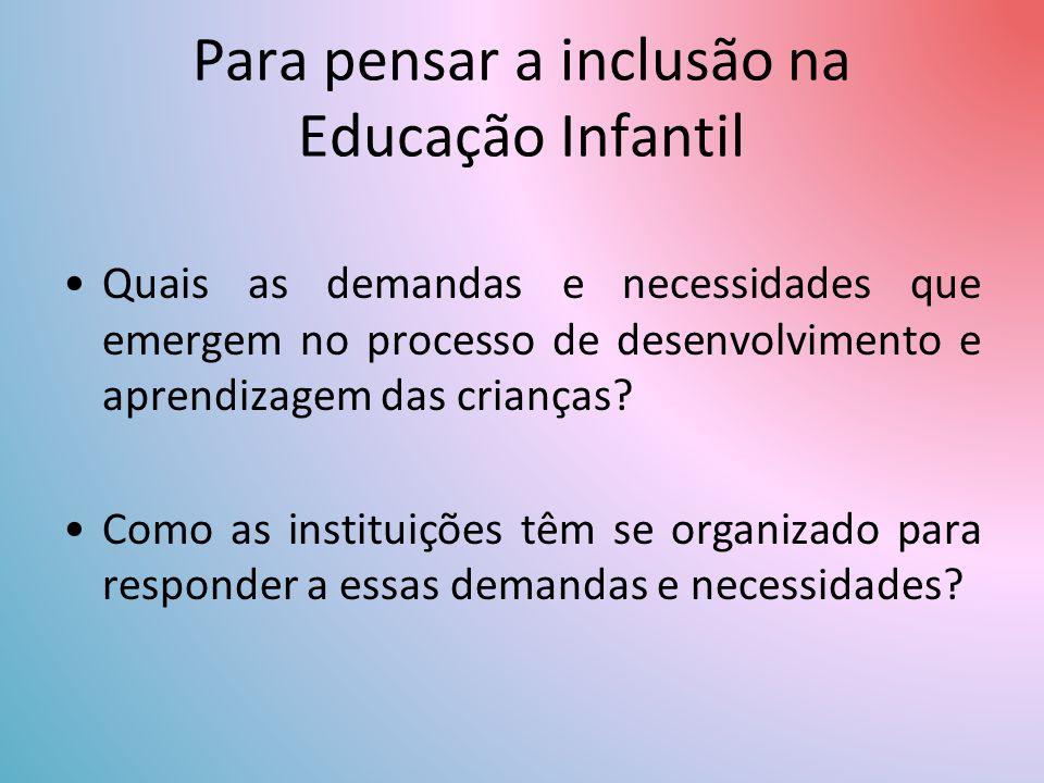 Para pensar a inclusão na Educação Infantil Quais as demandas e necessidades que emergem no processo de desenvolvimento e aprendizagem das crianças.