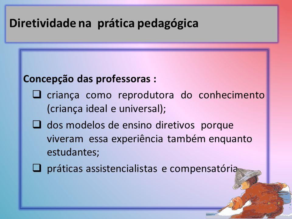Concepção das professoras : criança como reprodutora do conhecimento (criança ideal e universal); dos modelos de ensino diretivos porque viveram essa experiência também enquanto estudantes; práticas assistencialistas e compensatória.