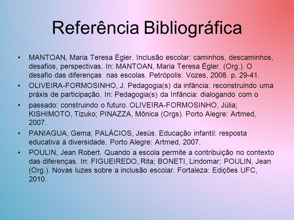 Referência Bibliográfica MANTOAN, Maria Teresa Égler.