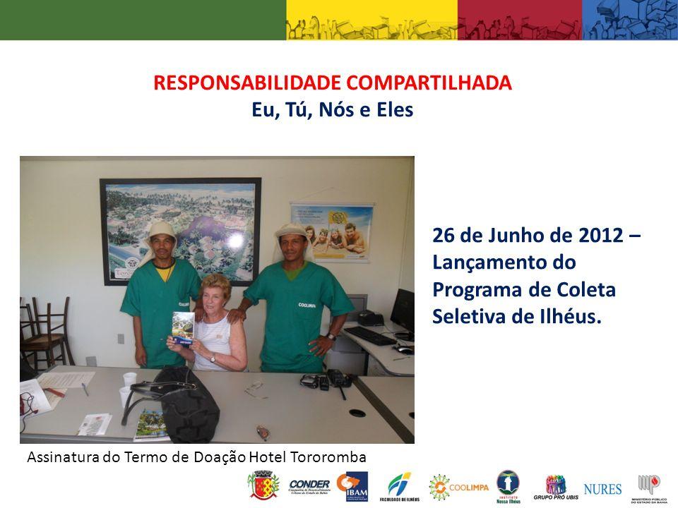 RESPONSABILIDADE COMPARTILHADA Eu, Tú, Nós e Eles Assinatura do Termo de Doação Hotel Tororomba 26 de Junho de 2012 – Lançamento do Programa de Coleta
