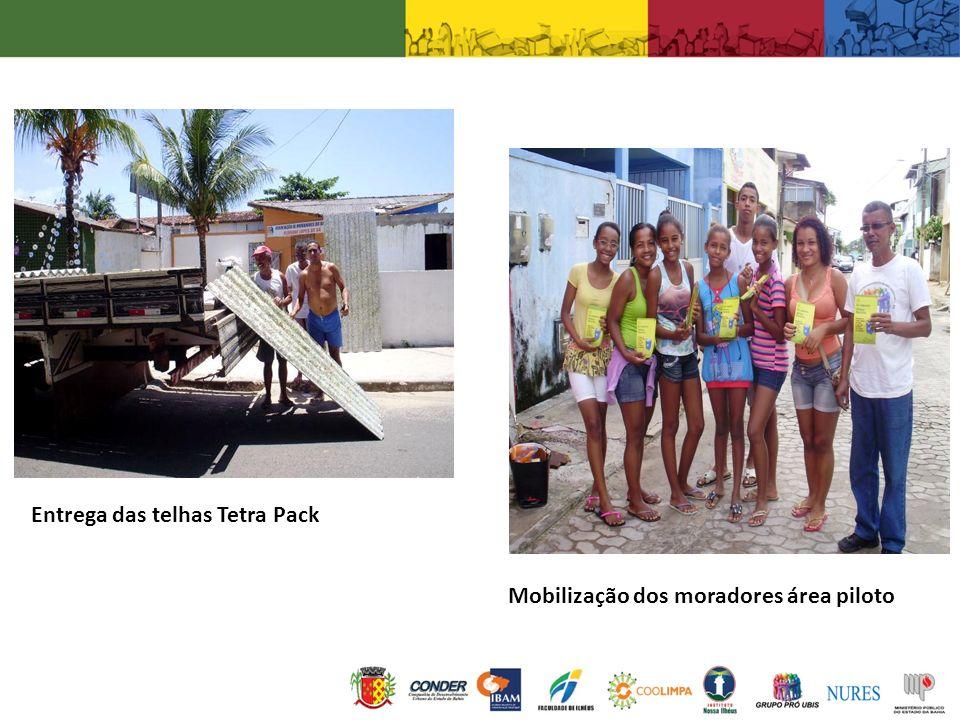 Entrega das telhas Tetra Pack Mobilização dos moradores área piloto