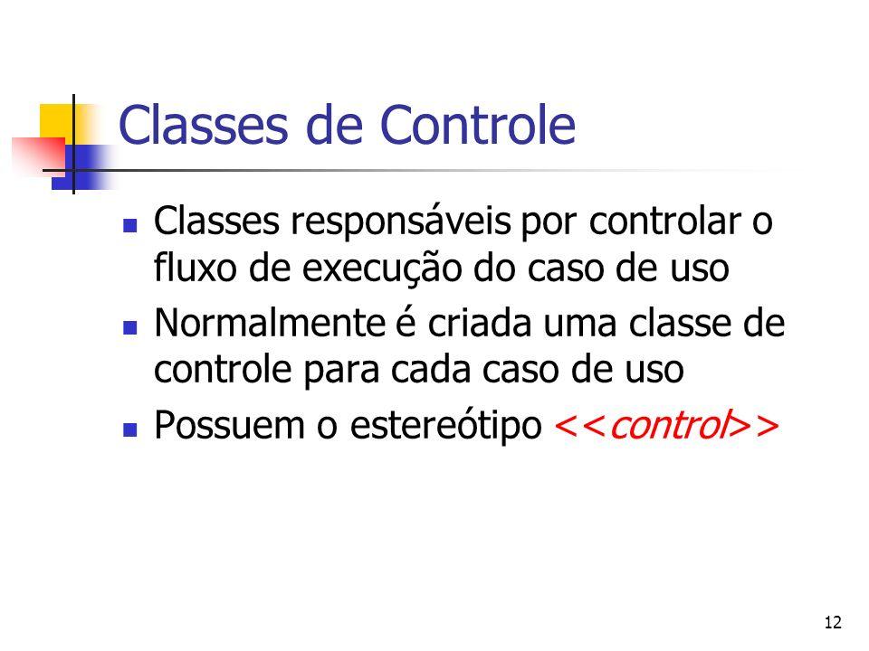 12 Classes de Controle Classes responsáveis por controlar o fluxo de execução do caso de uso Normalmente é criada uma classe de controle para cada cas