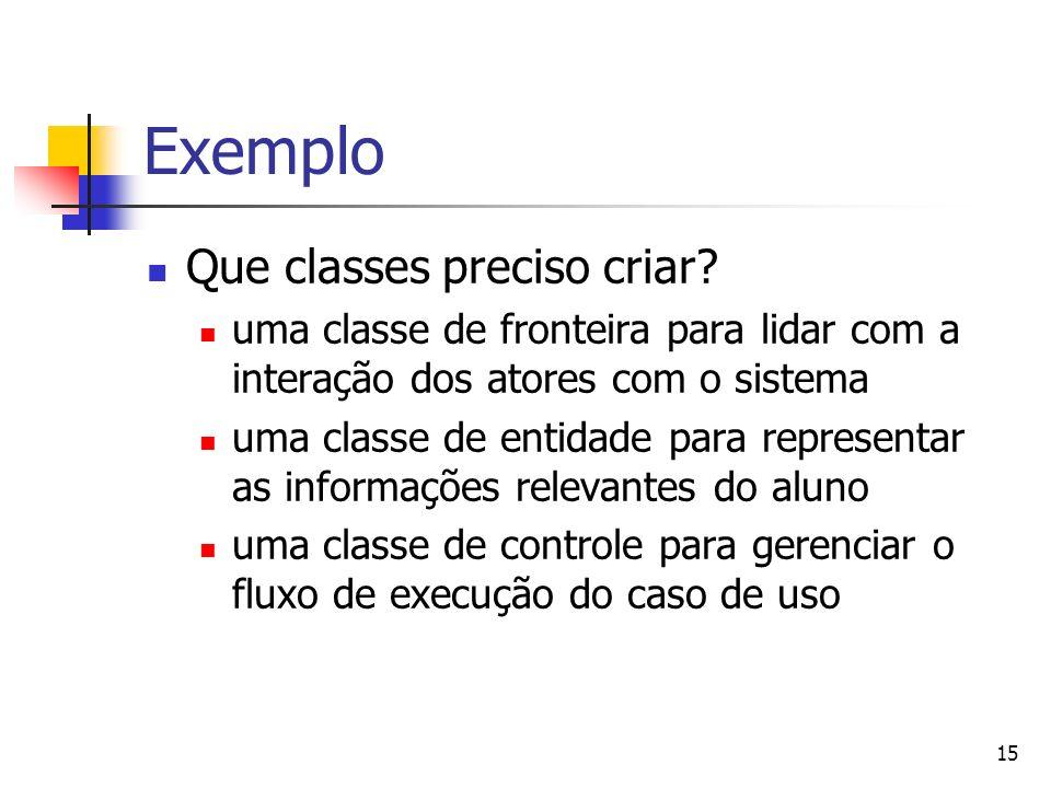 15 Exemplo Que classes preciso criar? uma classe de fronteira para lidar com a interação dos atores com o sistema uma classe de entidade para represen