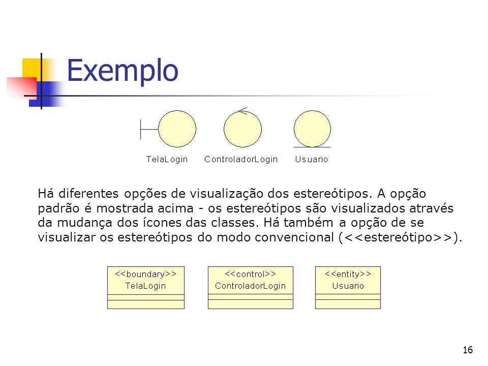 16 Exemplo Há diferentes opções de visualização dos estereótipos. A opção padrão é mostrada acima - os estereótipos são visualizados através da mudanç