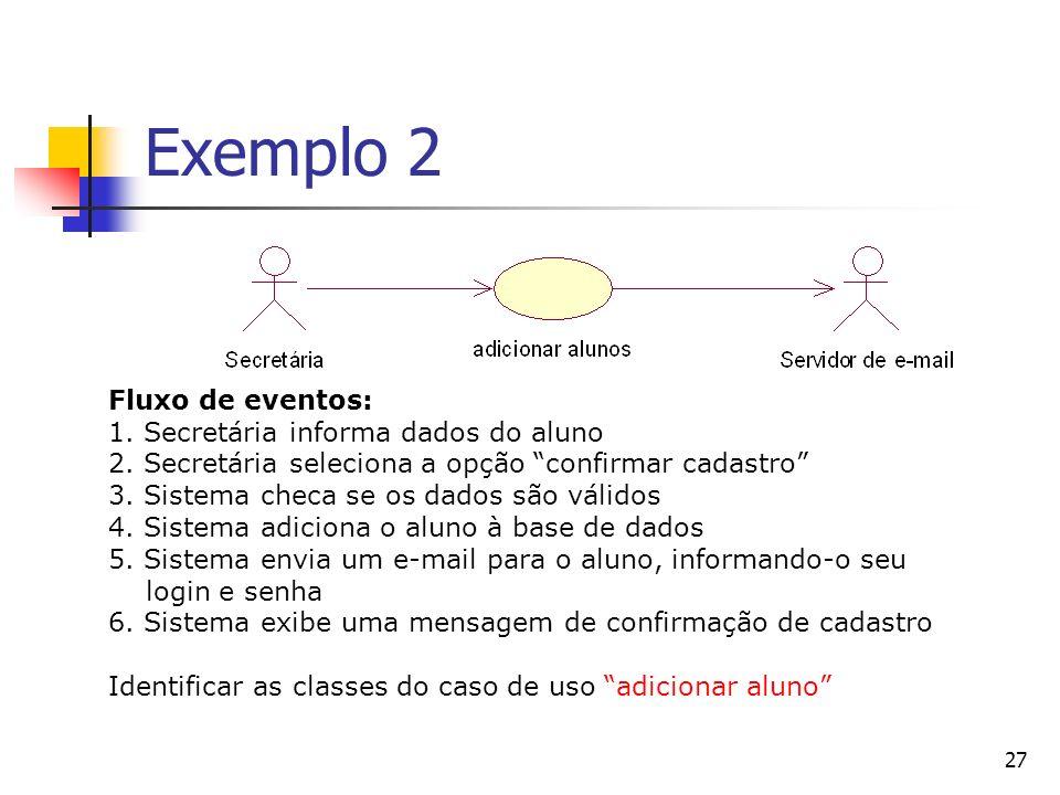 27 Exemplo 2 Fluxo de eventos: 1. Secretária informa dados do aluno 2. Secretária seleciona a opção confirmar cadastro 3. Sistema checa se os dados sã