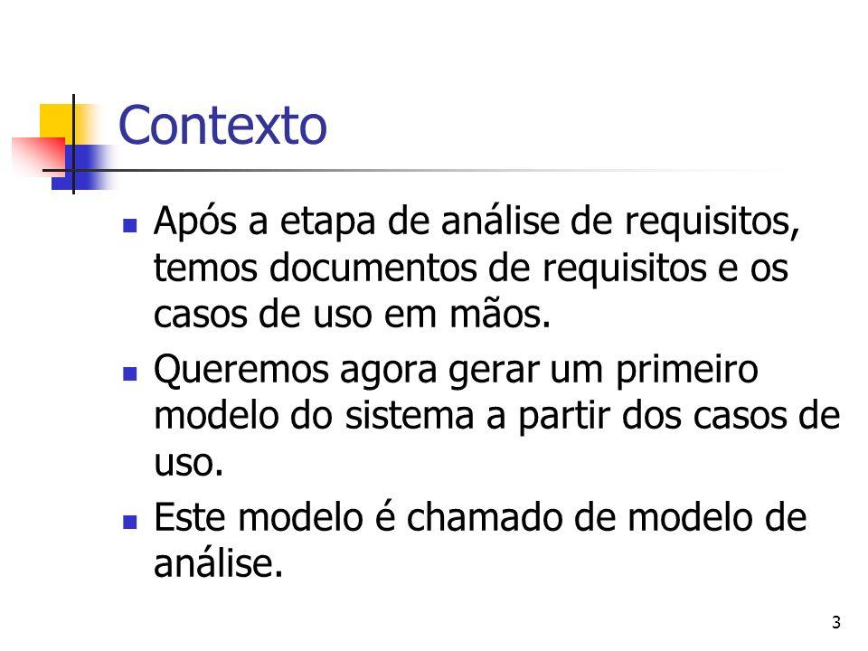 3 Contexto Após a etapa de análise de requisitos, temos documentos de requisitos e os casos de uso em mãos. Queremos agora gerar um primeiro modelo do