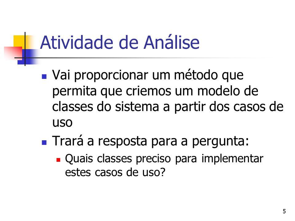 5 Atividade de Análise Vai proporcionar um método que permita que criemos um modelo de classes do sistema a partir dos casos de uso Trará a resposta para a pergunta: Quais classes preciso para implementar estes casos de uso?