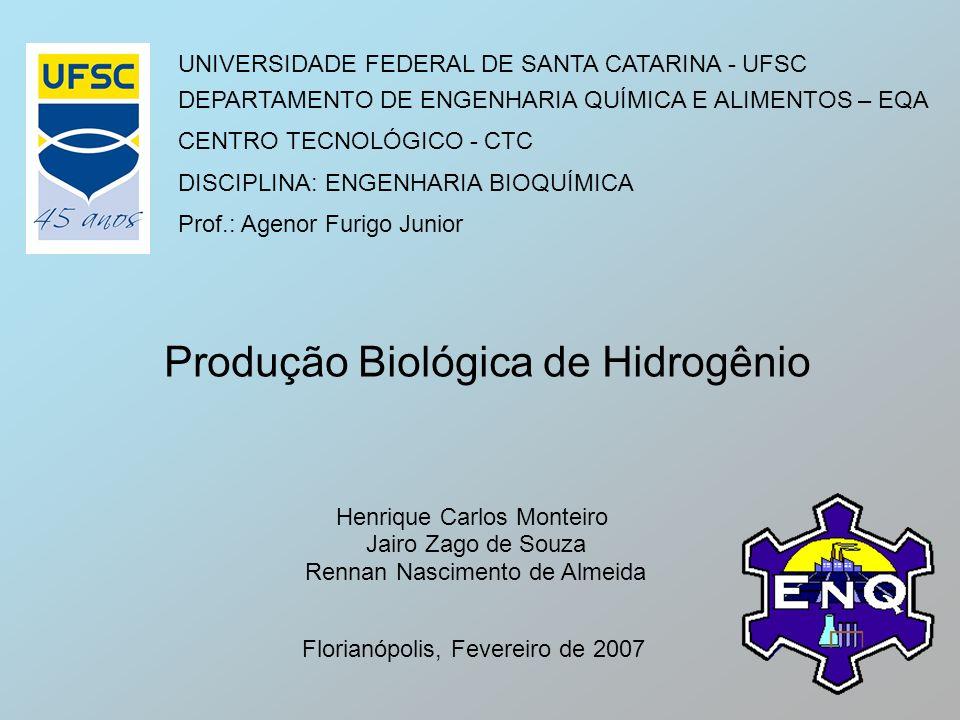 UNIVERSIDADE FEDERAL DE SANTA CATARINA - UFSC DEPARTAMENTO DE ENGENHARIA QUÍMICA E ALIMENTOS – EQA CENTRO TECNOLÓGICO - CTC DISCIPLINA: ENGENHARIA BIO