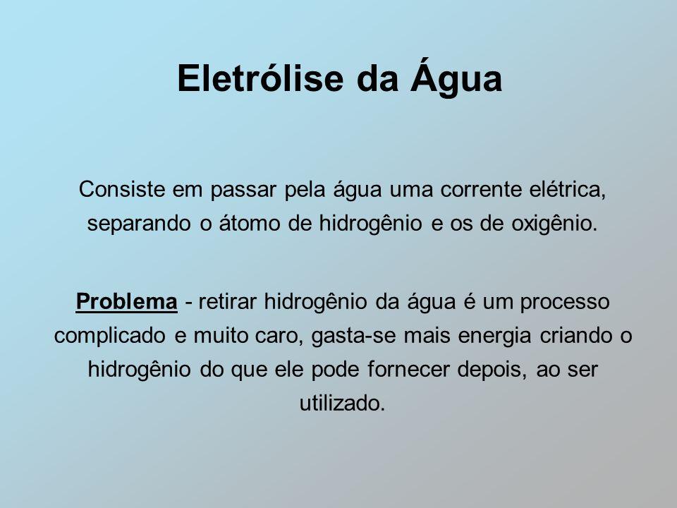 Eletrólise da Água Consiste em passar pela água uma corrente elétrica, separando o átomo de hidrogênio e os de oxigênio. Problema - retirar hidrogênio