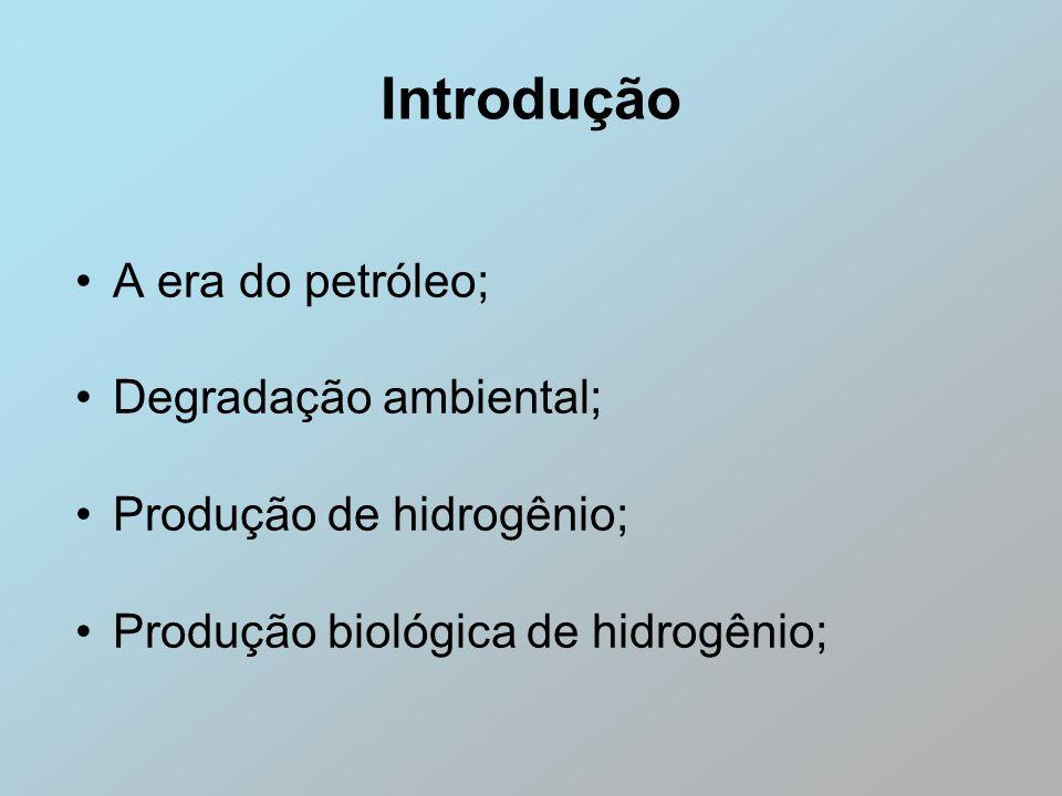 Introdução A era do petróleo; Degradação ambiental; Produção de hidrogênio; Produção biológica de hidrogênio;