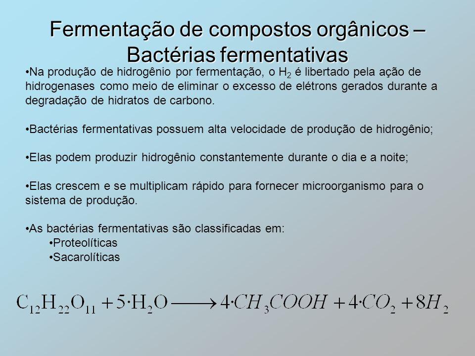 Na produção de hidrogênio por fermentação, o H 2 é libertado pela ação de hidrogenases como meio de eliminar o excesso de elétrons gerados durante a d