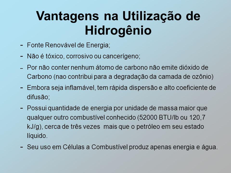 Vantagens na Utilização de Hidrogênio – Fonte Renovável de Energia; – Não é tóxico, corrosivo ou cancerígeno; – Por não conter nenhum átomo de carbono