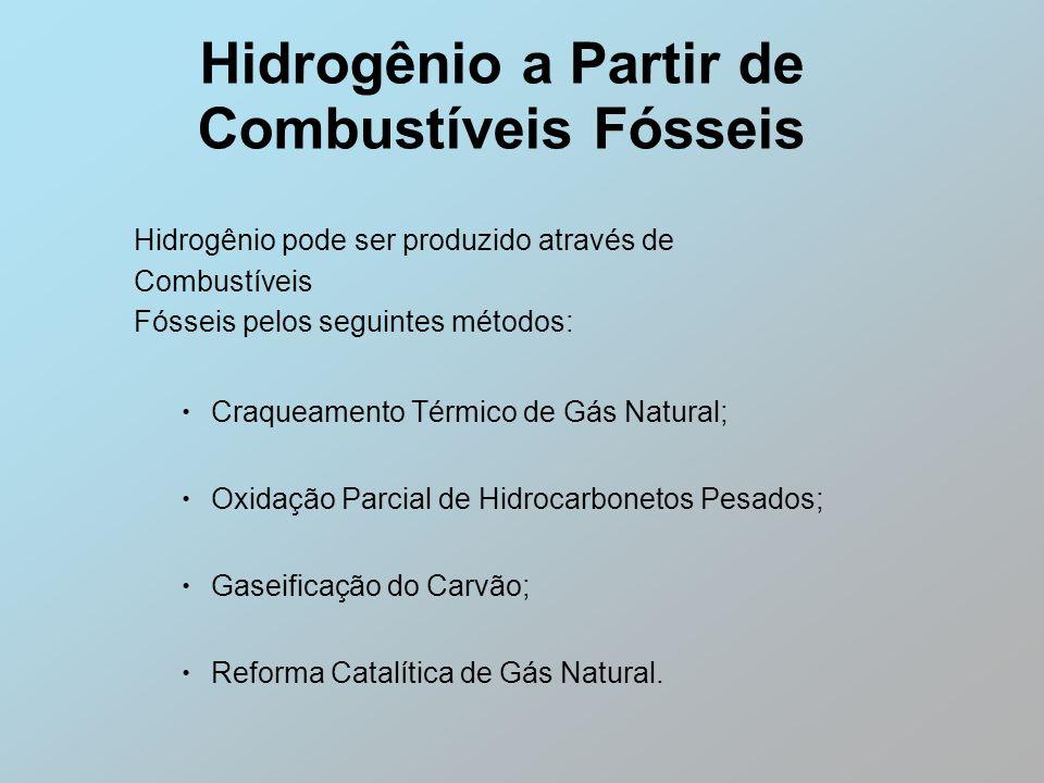 Hidrogênio a Partir de Combustíveis Fósseis Hidrogênio pode ser produzido através de Combustíveis Fósseis pelos seguintes métodos: Craqueamento Térmic