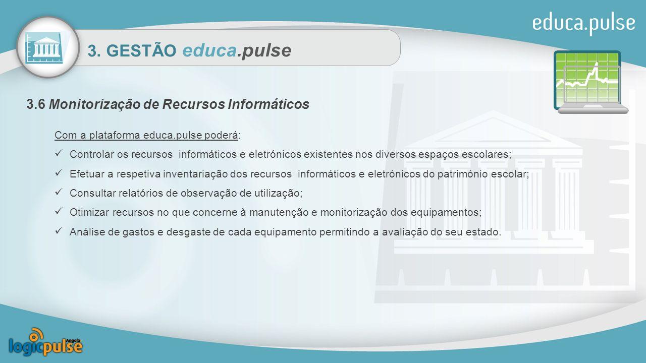 3. GESTÃO educa.pulse 3.6 Monitorização de Recursos Informáticos Com a plataforma educa.pulse poderá: Controlar os recursos informáticos e eletrónicos