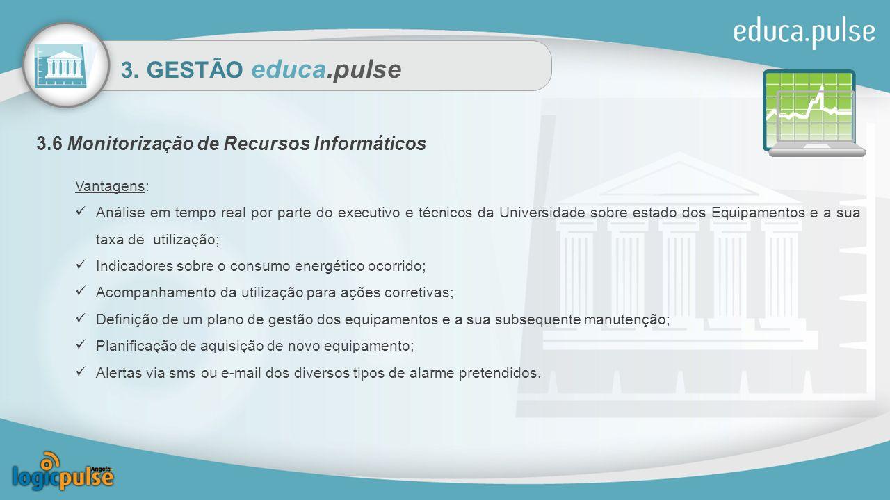 3. GESTÃO educa.pulse 3.6 Monitorização de Recursos Informáticos Vantagens: Análise em tempo real por parte do executivo e técnicos da Universidade so