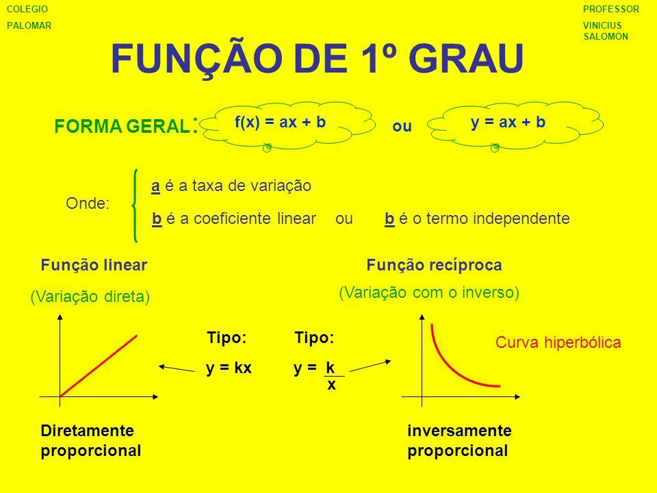 Função afim ou função linear y = ax + b Zero ou Raiz de uma função: É o valor de x que torna y igual a zero ALGEBRICAMENTE É a interseção da reta com o eixo x (GRAFICAMENTE) Crescimento ou decrescimento: se a > 0 Função crescente Função decrescentea < 0 PROFESSOR VINICIUS SALOMON COLEGIO PALOMAR GEOMETRICAMENTE