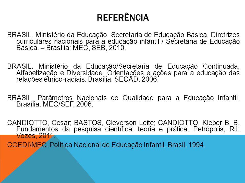 REFERÊNCIA BRASIL. Ministério da Educação. Secretaria de Educação Básica. Diretrizes curriculares nacionais para a educação infantil / Secretaria de E