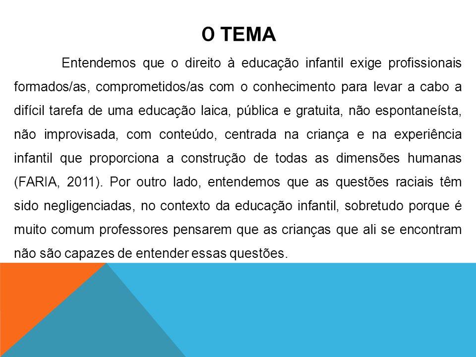 OBJETIVOS GERAL Compreender as políticas de formação de professores, sobretudo aquelas direcionadas aos profissionais que atuam na educação infantil, a partir de novas demandas e questões que se colocam à educação brasileira, às denominadas questões énticorraciais, tendo como pontos para a reflexão e análise a Lei 10.639 e as Diretrizes Curriculares Nacionais para a Educação Infantil.