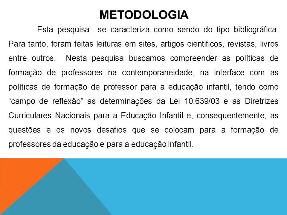 METODOLOGIA Esta pesquisa se caracteriza como sendo do tipo bibliográfica. Para tanto, foram feitas leituras em sites, artigos cientificos, revistas,
