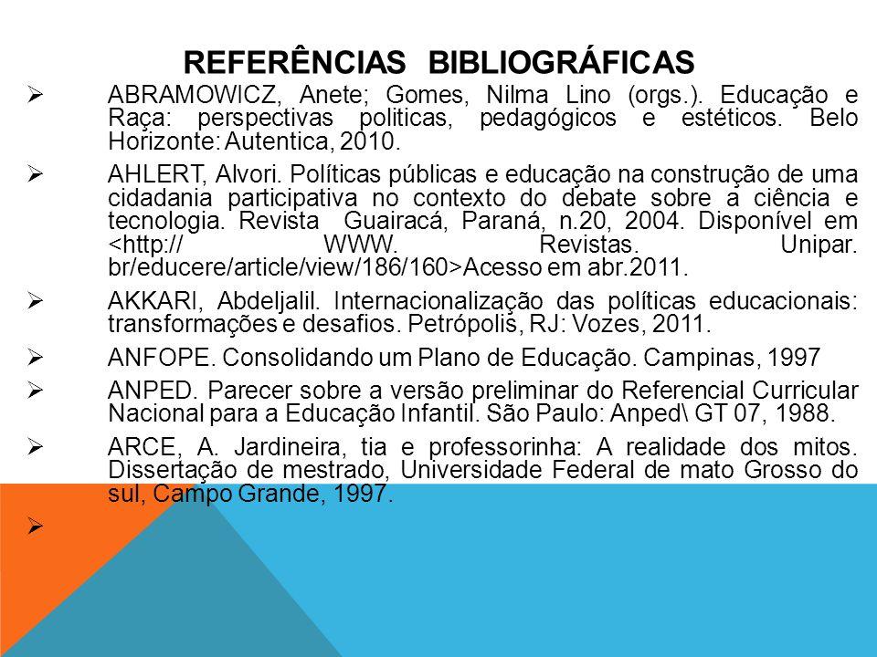 REFERÊNCIAS BIBLIOGRÁFICAS ABRAMOWICZ, Anete; Gomes, Nilma Lino (orgs.). Educação e Raça: perspectivas politicas, pedagógicos e estéticos. Belo Horizo