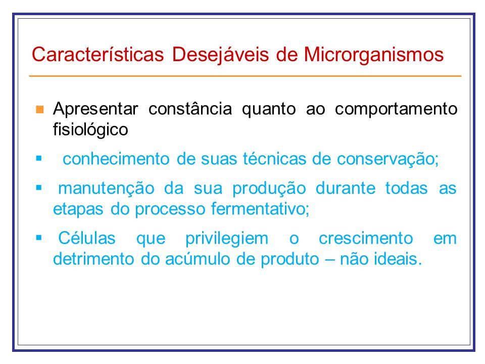 Características Desejáveis de Microrganismos Apresentar constância quanto ao comportamento fisiológico conhecimento de suas técnicas de conservação; m
