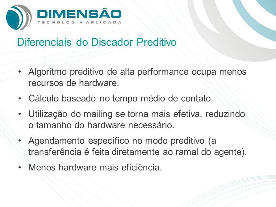 Diferenciais do Discador Preditivo Algoritmo preditivo de alta performance ocupa menos recursos de hardware. Cálculo baseado no tempo médio de contato