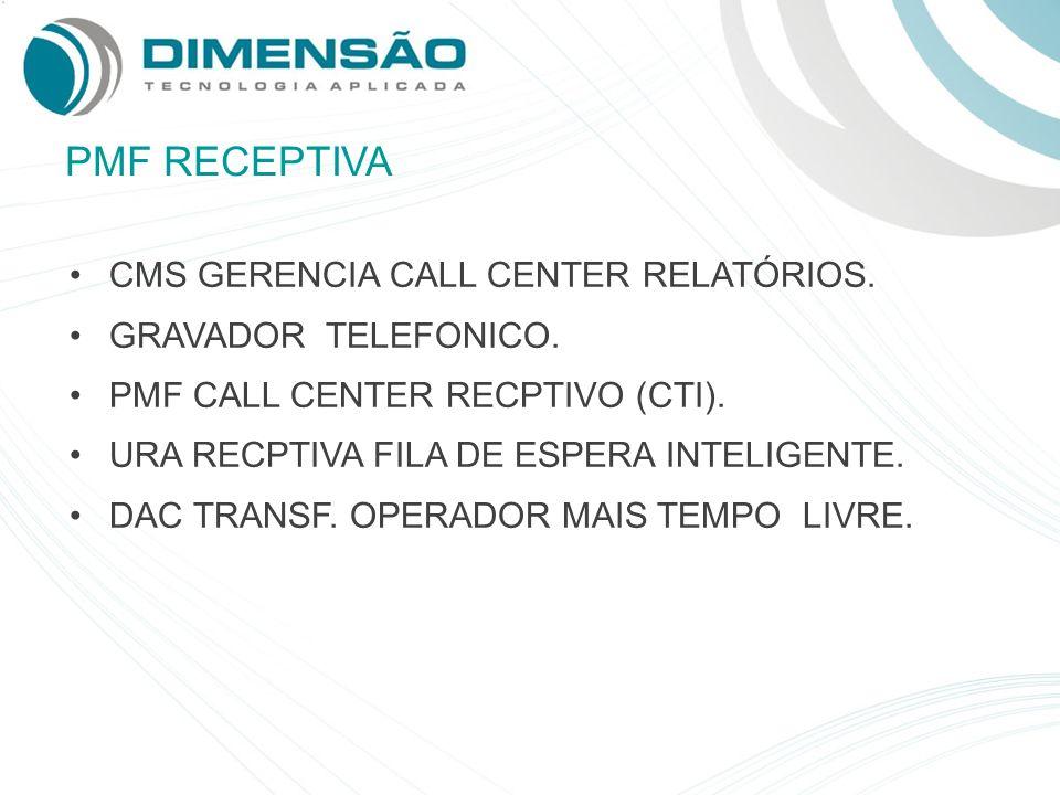 PMF RECEPTIVA CMS GERENCIA CALL CENTER RELATÓRIOS. GRAVADOR TELEFONICO. PMF CALL CENTER RECPTIVO (CTI). URA RECPTIVA FILA DE ESPERA INTELIGENTE. DAC T