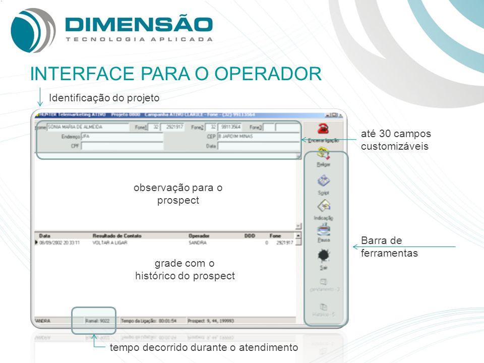 INTERFACE PARA O OPERADOR Identificação do projeto até 30 campos customizáveis observação para o prospect grade com o histórico do prospect tempo deco