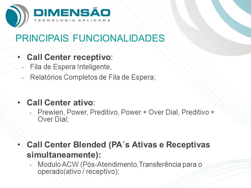 PRINCIPAIS FUNCIONALIDADES Call Center receptivo: Fila de Espera Inteligente, Relatórios Completos de Fila de Espera; Call Center ativo: Prewien, Powe