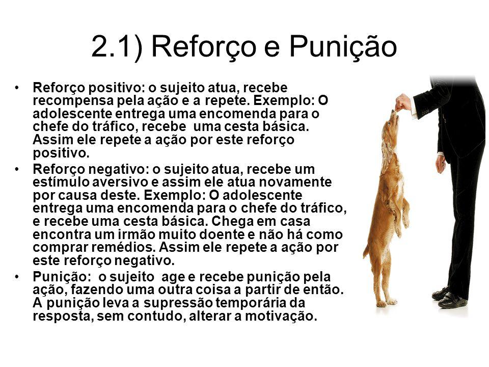 2.1) Reforço e Punição Reforço positivo: o sujeito atua, recebe recompensa pela ação e a repete. Exemplo: O adolescente entrega uma encomenda para o c