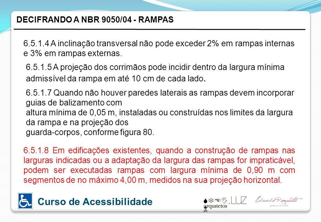 STEI N Curso de Acessibilidade 6.5.1.4 A inclinação transversal não pode exceder 2% em rampas internas e 3% em rampas externas. DECIFRANDO A NBR 9050/