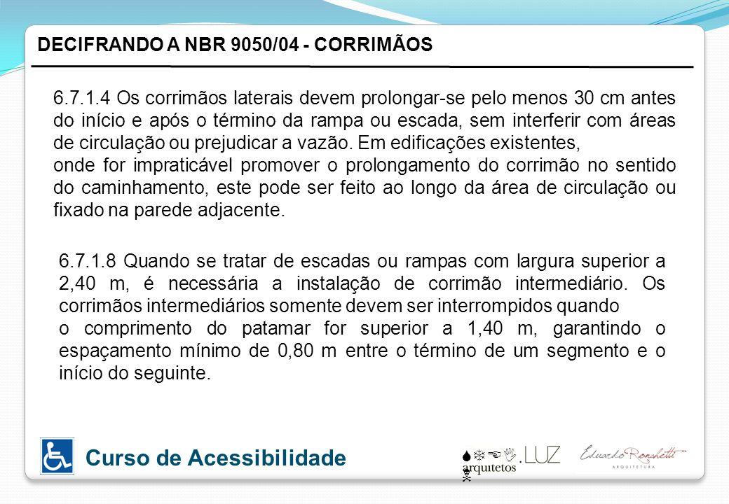 STEI N Curso de Acessibilidade DECIFRANDO A NBR 9050/04 - CORRIMÃOS 6.7.1.4 Os corrimãos laterais devem prolongar-se pelo menos 30 cm antes do início