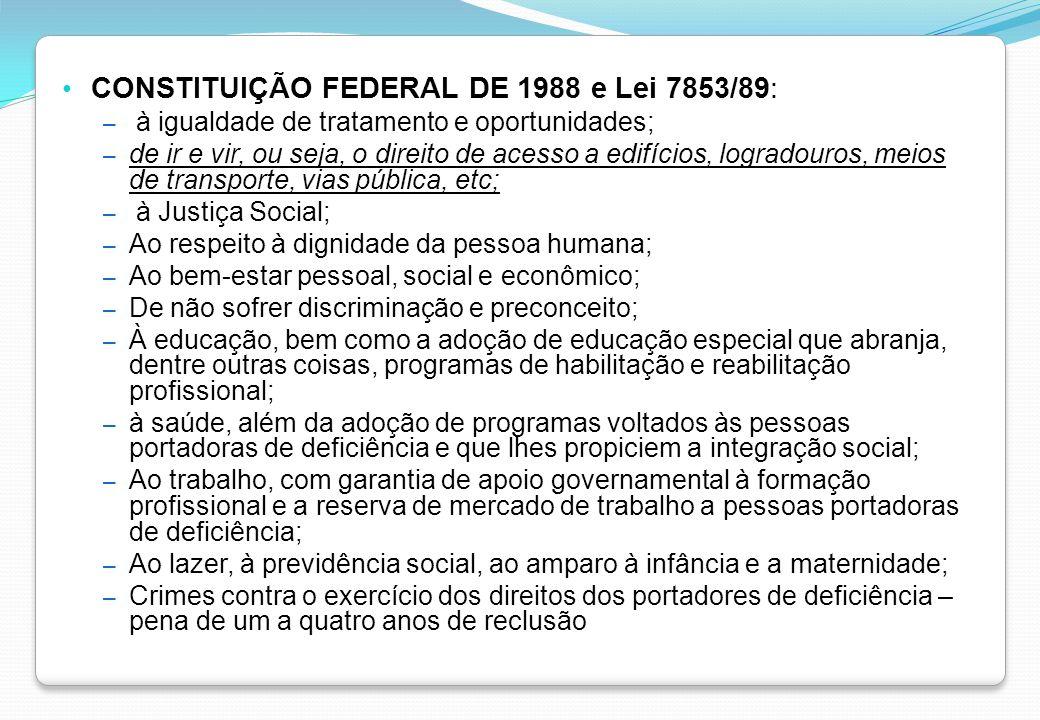 CONSTITUIÇÃO FEDERAL DE 1988 e Lei 7853/89: – à igualdade de tratamento e oportunidades; – de ir e vir, ou seja, o direito de acesso a edifícios, logr