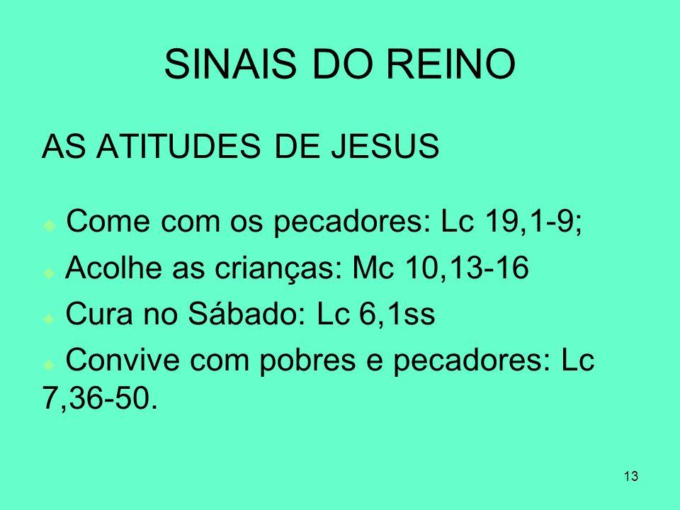 13 SINAIS DO REINO AS ATITUDES DE JESUS Come com os pecadores: Lc 19,1-9; Acolhe as crianças: Mc 10,13-16 Cura no Sábado: Lc 6,1ss Convive com pobres e pecadores: Lc 7,36-50.