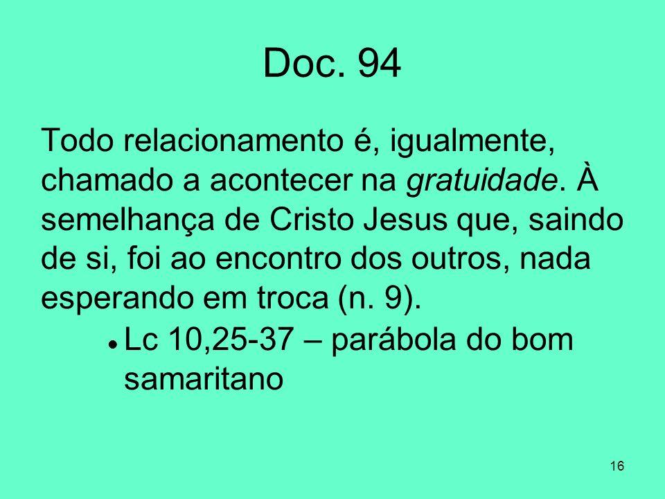 16 Doc.94 Todo relacionamento é, igualmente, chamado a acontecer na gratuidade.