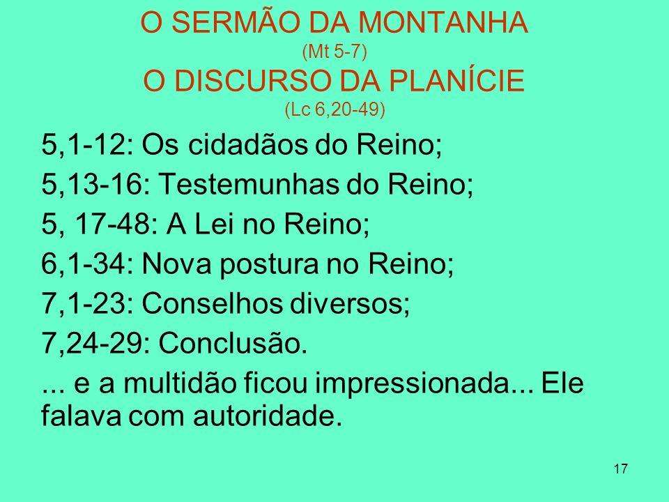 17 O SERMÃO DA MONTANHA (Mt 5-7) O DISCURSO DA PLANÍCIE (Lc 6,20-49) 5,1-12: Os cidadãos do Reino; 5,13-16: Testemunhas do Reino; 5, 17-48: A Lei no Reino; 6,1-34: Nova postura no Reino; 7,1-23: Conselhos diversos; 7,24-29: Conclusão....