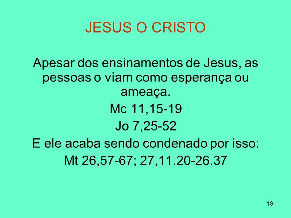 19 JESUS O CRISTO Apesar dos ensinamentos de Jesus, as pessoas o viam como esperança ou ameaça.
