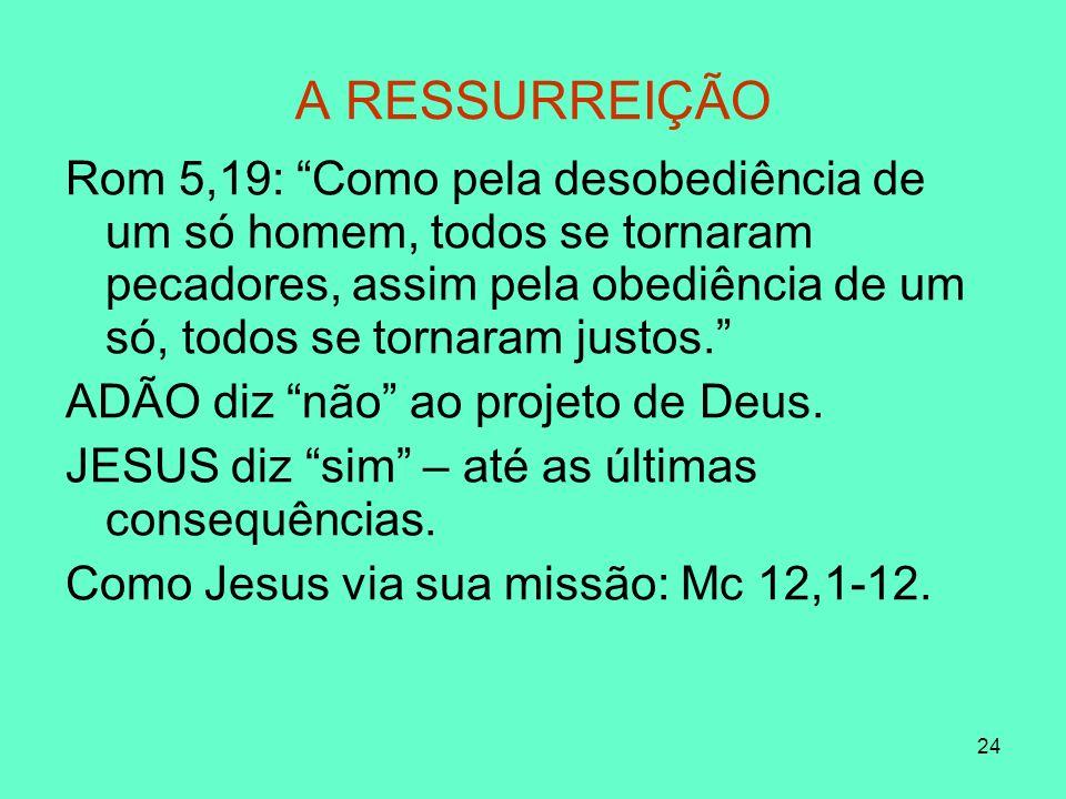 24 A RESSURREIÇÃO Rom 5,19: Como pela desobediência de um só homem, todos se tornaram pecadores, assim pela obediência de um só, todos se tornaram justos.