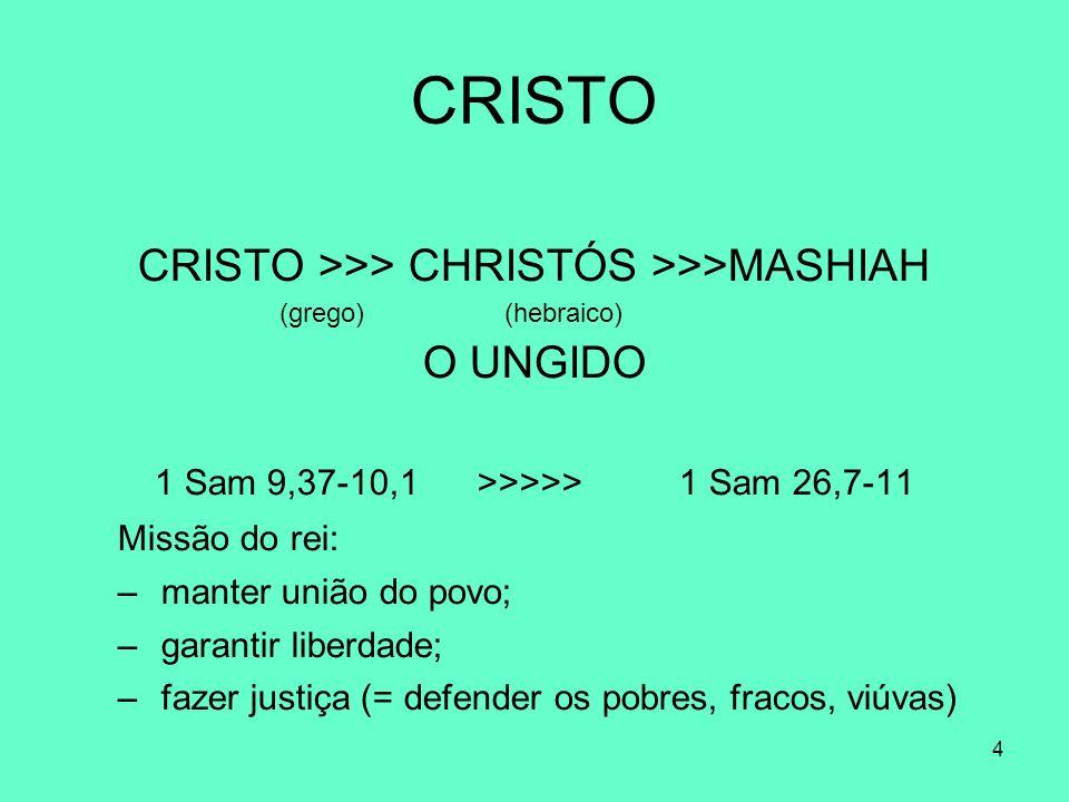 4 CRISTO CRISTO >>> CHRISTÓS >>>MASHIAH (grego) (hebraico) O UNGIDO 1 Sam 9,37-10,1 >>>>> 1 Sam 26,7-11 Missão do rei: – manter união do povo; – garantir liberdade; – fazer justiça (= defender os pobres, fracos, viúvas)