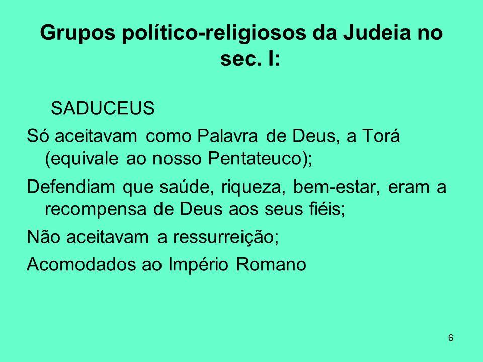 6 Grupos político-religiosos da Judeia no sec.