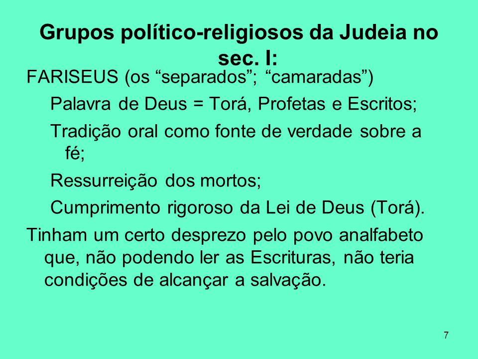 8 Grupos político-religiosos da Judeia no sec.