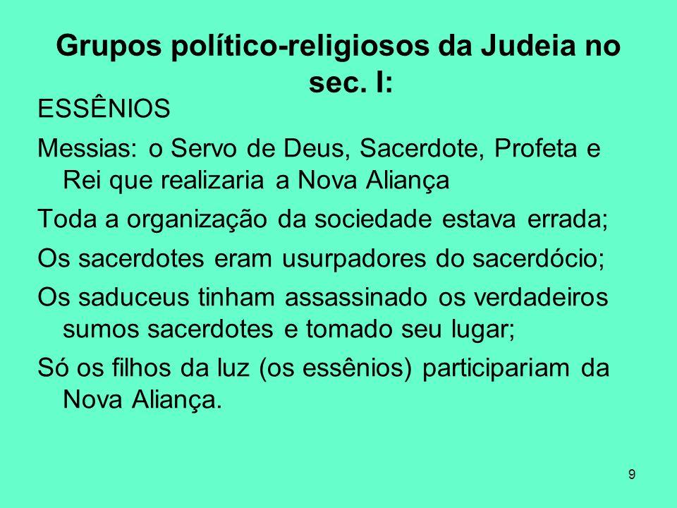 9 Grupos político-religiosos da Judeia no sec.