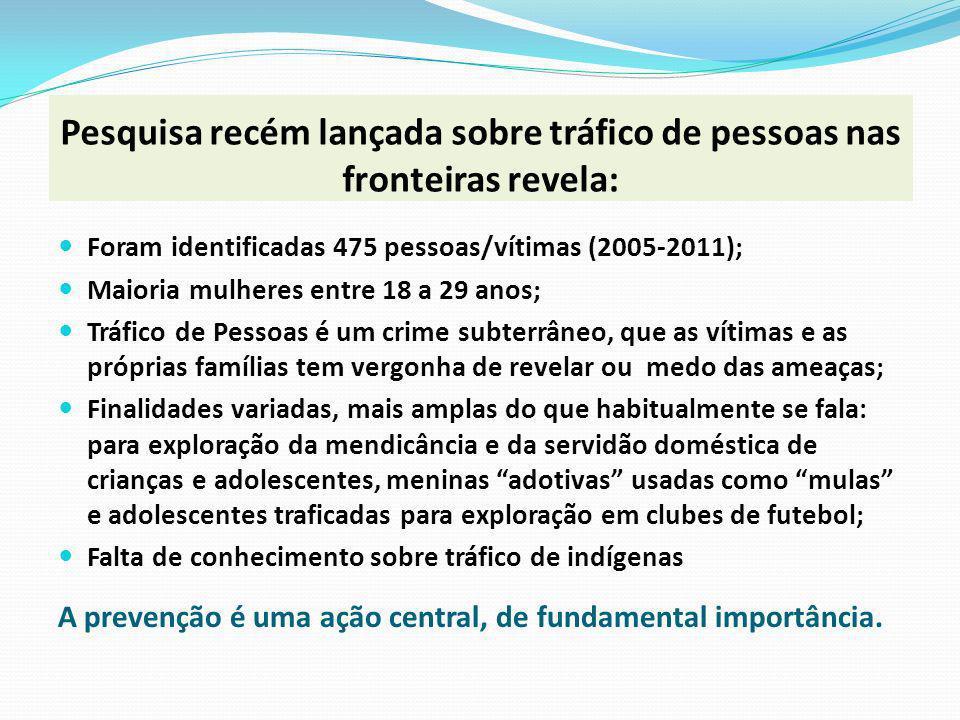 Pesquisa recém lançada sobre tráfico de pessoas nas fronteiras revela: Foram identificadas 475 pessoas/vítimas (2005-2011); Maioria mulheres entre 18